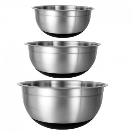 3 Mixing Bowls Set High Quality Non Slip Silicon Base Stainless Steel Food Salad